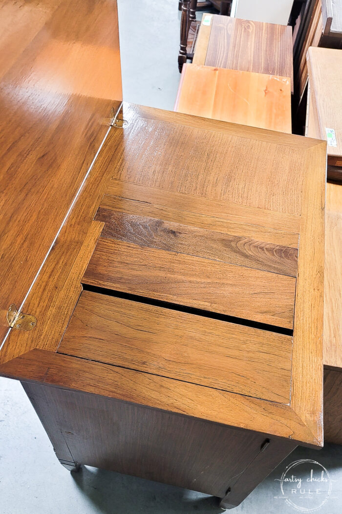 inside wood sewing cabinet