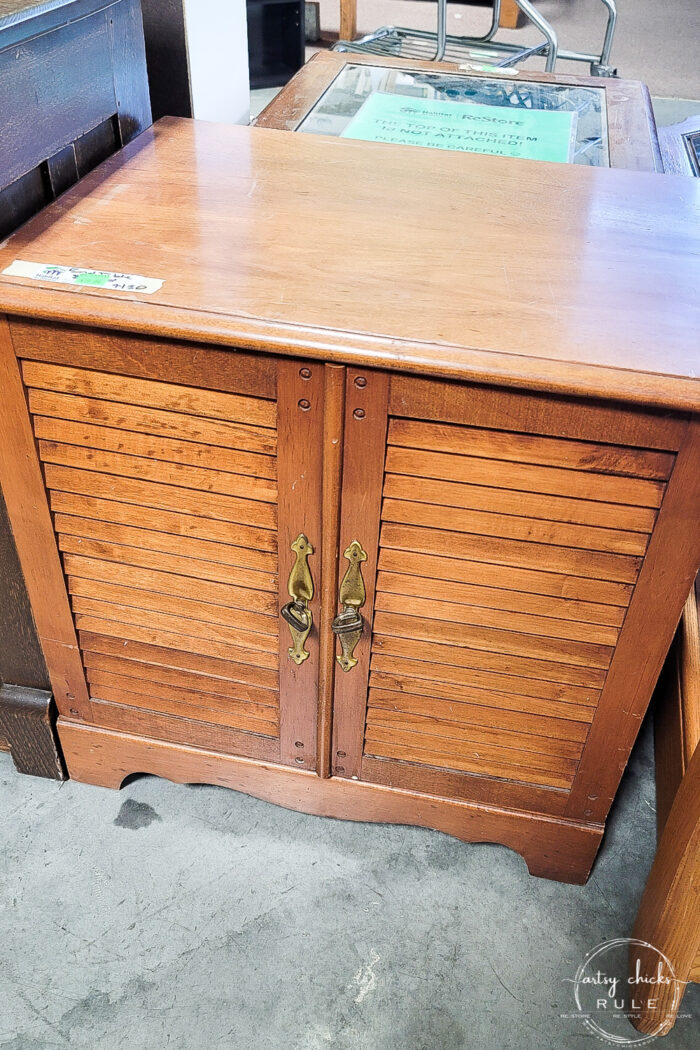 louvered doors wood cabinet