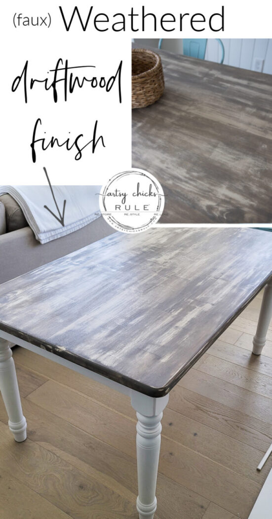This faux weathered driftwood look is SO simple to create!! Perfect for that coastal, beachy vibe. artsychicksrule.com