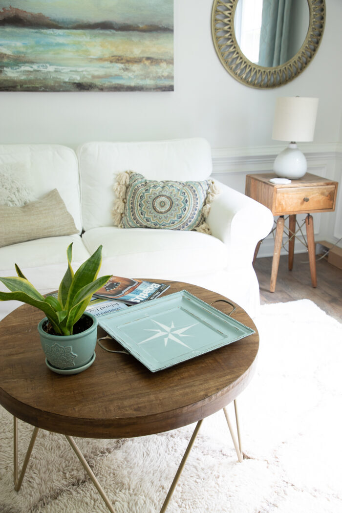 wood table with green plant and aqua tray in front of white couch
