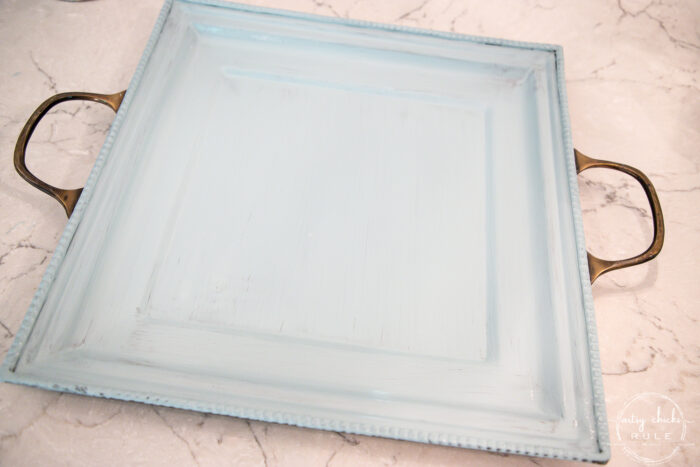 blue painted tray with metal handles