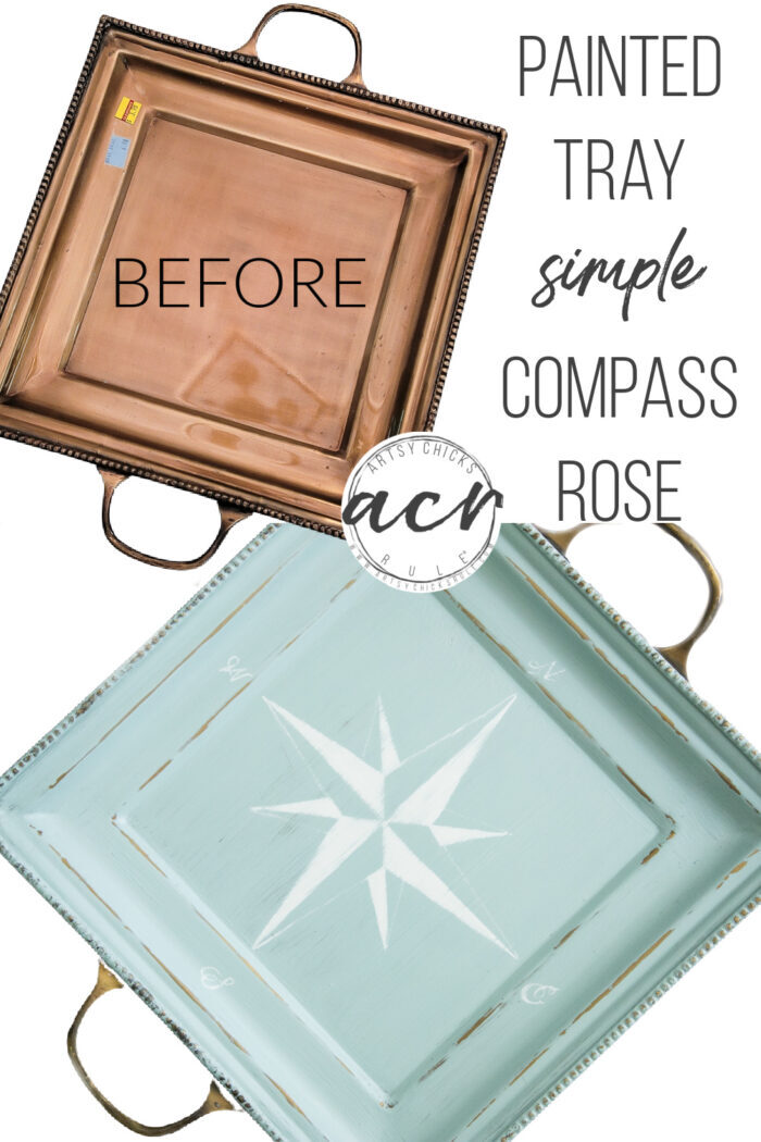 A very easy and fun way to update your thrifty find...a compass rose tray! The compass rose is SIMPLE to create! artsychicksrule.com #compassrose