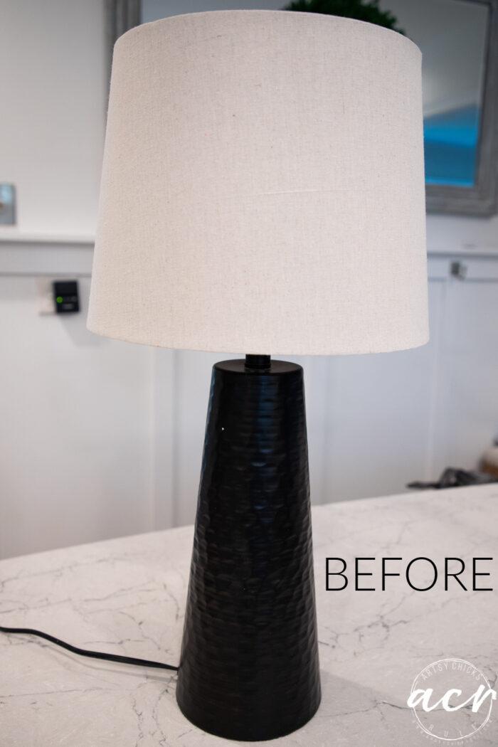 Black and tan lamp before