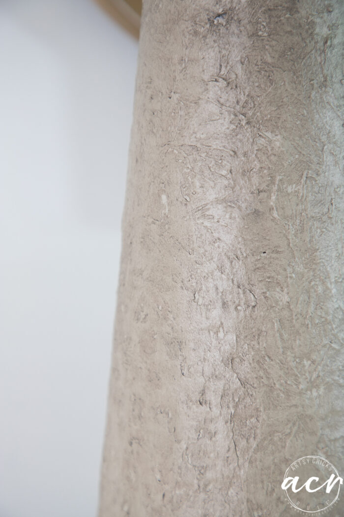 close up of faux stone look lamp