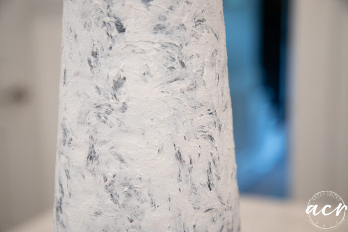 up close of white fiber paste on lamp