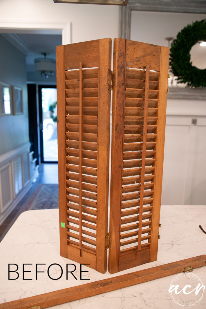 old wood shutters before brown