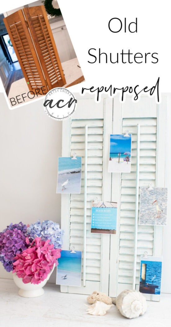 Thrifted old shutters repurposed into a cool new photo display for your favorite photos! Perfect for hanging on the wall. artsychicksrule.com
