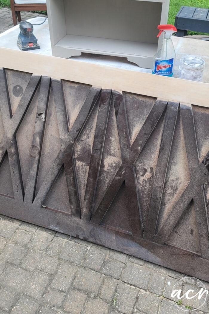 sanded top wood on headboard