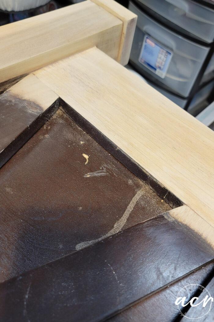 up close wood trim sanded