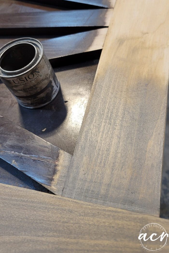 Driftwood stain application on sanded wood