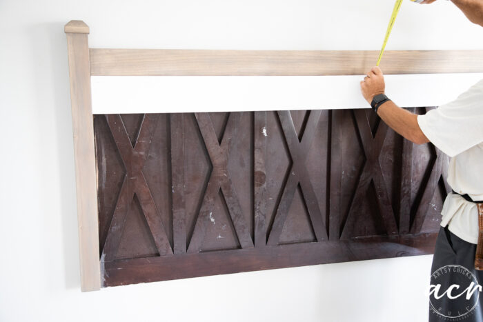showing application of first piece of shiplap