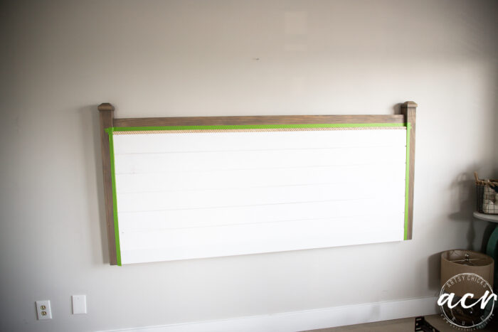 headboard taped ready for painting