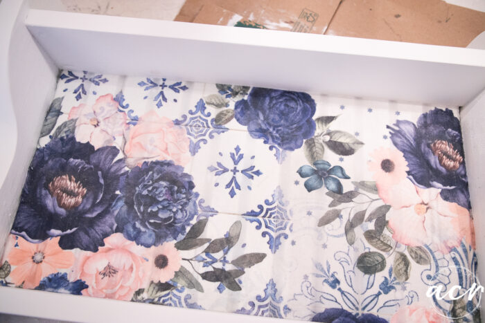 up close of pretty blue and pink floral decoupage