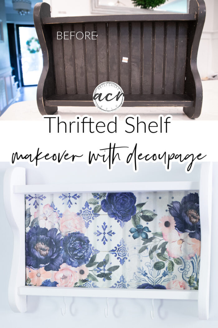 This beautiful floral decoupage paper completely transformed this tired old shelf. The added hooks gave it even more function! artsychicksrule.com