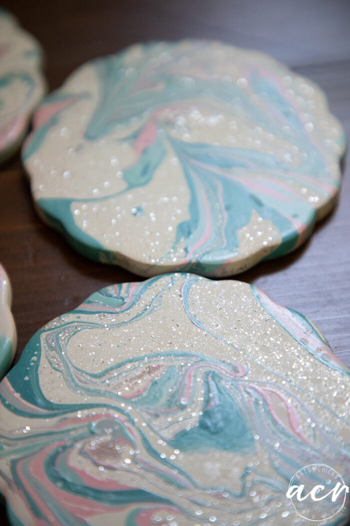 sparkly polish on coasters