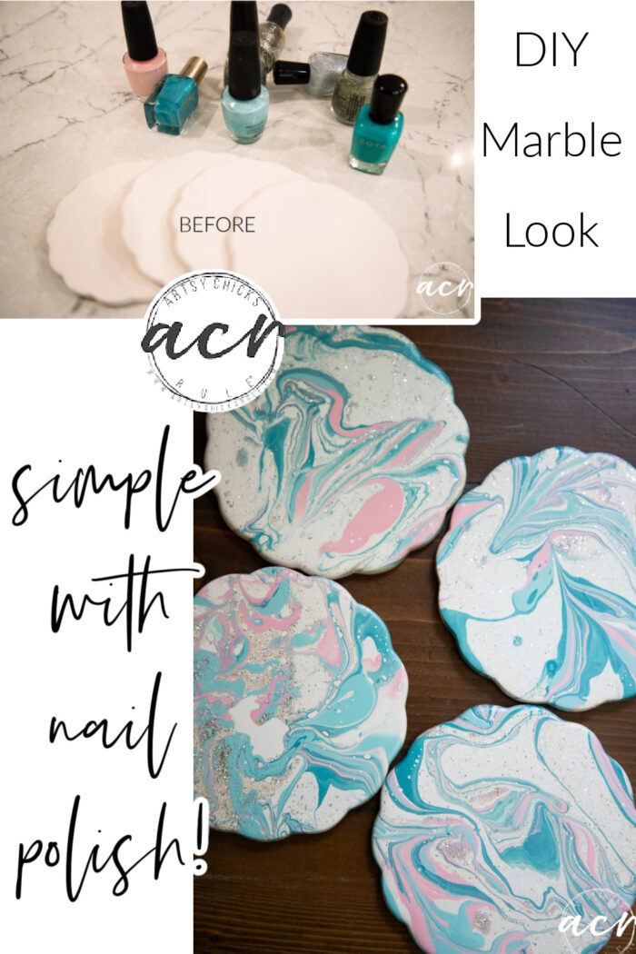 How to marble with nail polish...so easy! These coasters got a brand new look simply in about 2 minutes time! artsychicksrule.com #marblepolish #nailpolishcrafts #marblenailpolish
