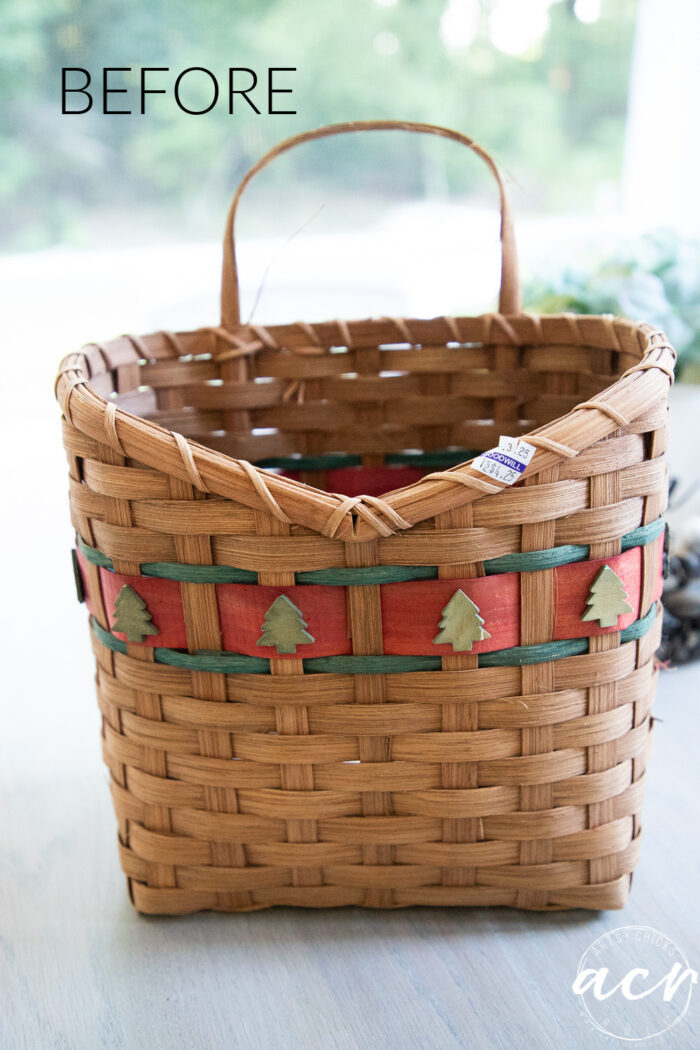 brown basket before with Christmas trees and red and green weave