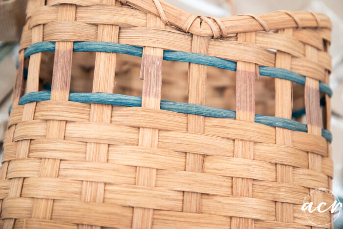 basket with red weave removed