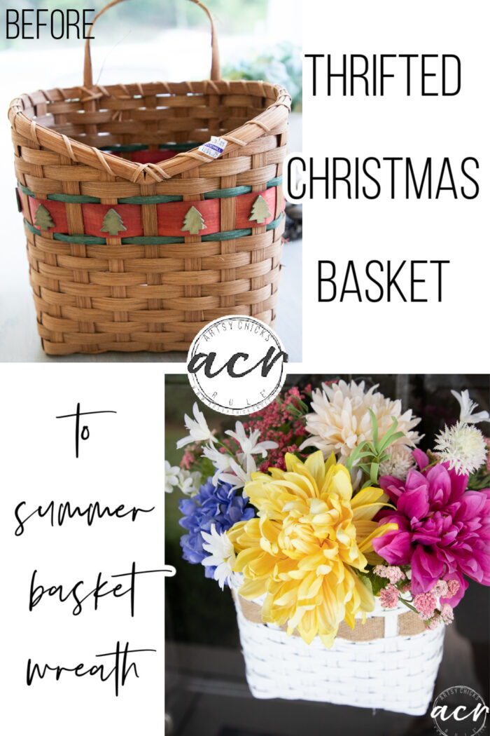This sweet summer basket wreath adds a little splash of color to your home! Easily made with an old thrifted, Christmas basket. artsychicksrule.com