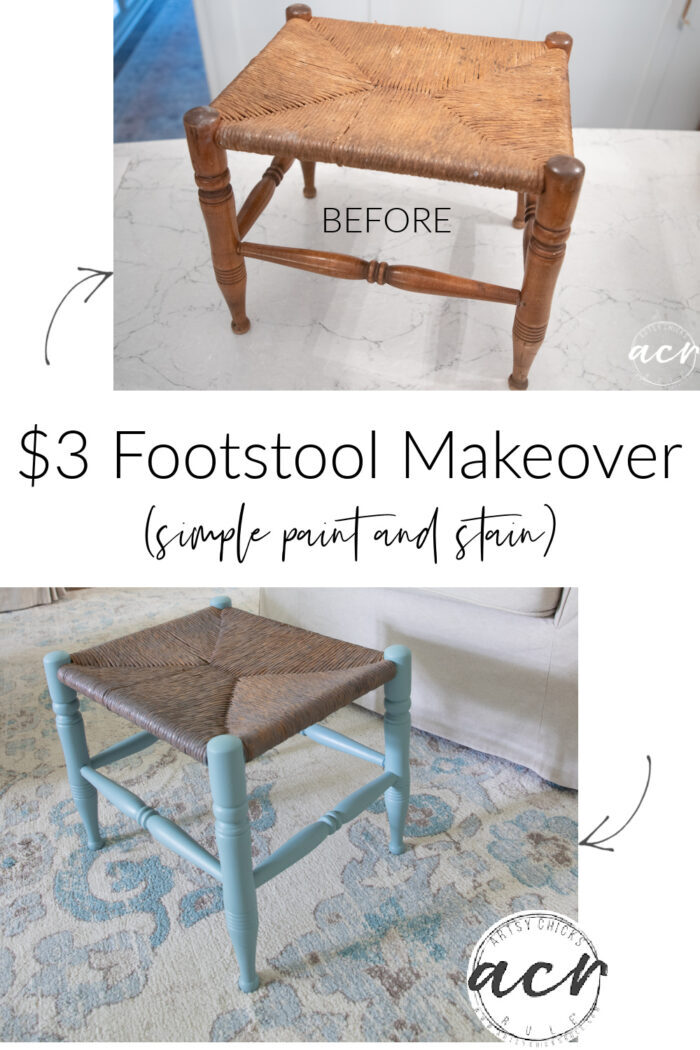 This $3 rush footstool from the ReStore got a brand new look! Simple with paint and stain. artsychicksrule.com
