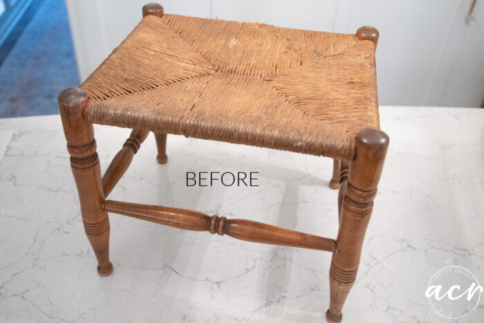 rush footstool old before