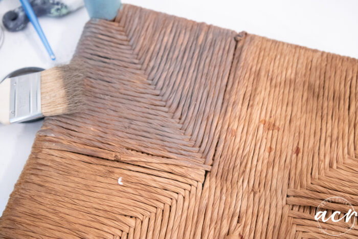 applying the driftwood stain to the rush