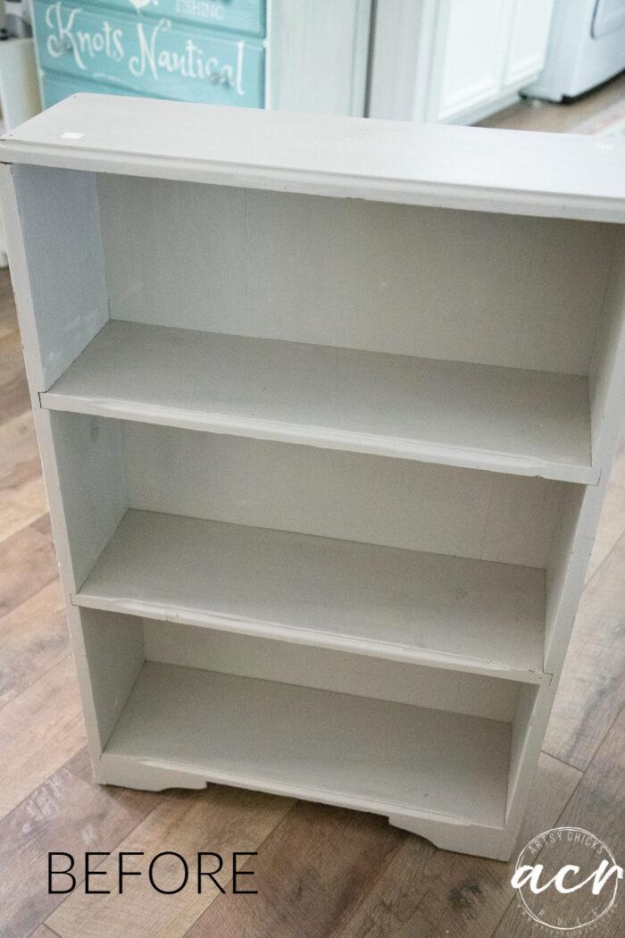 beige colored small bookcase
