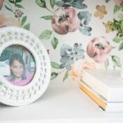 Floral Furniture Transfer Bookcase Makeover