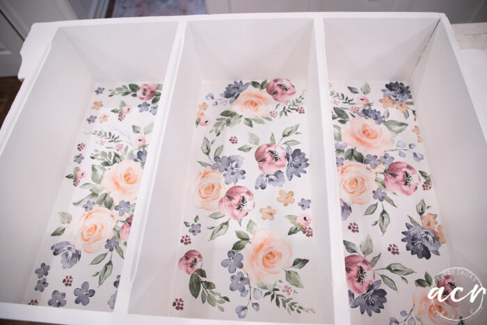 showing all 3 backs of the shelves with the floral transfer