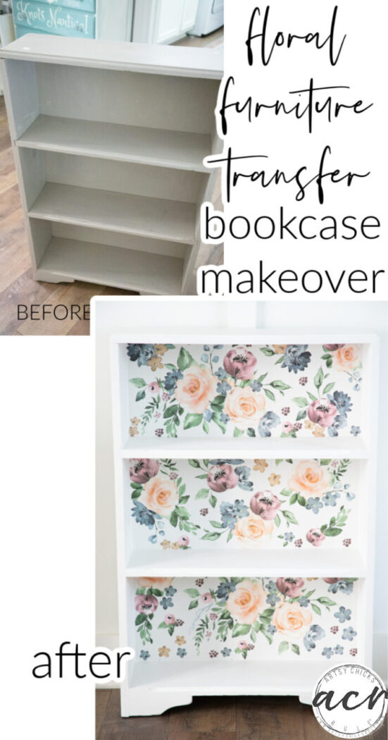 This bright and colorful floral furniture transfer was the perfect addition to this $6 thrift store bookcase. artsychicksrule.com