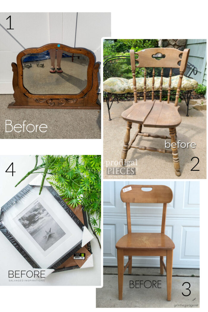 Trash to treasures before...2 chairs, mirror and frames