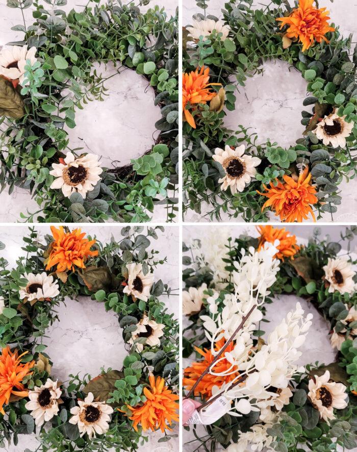 4 photos of fall wreath showing how to add the flowers