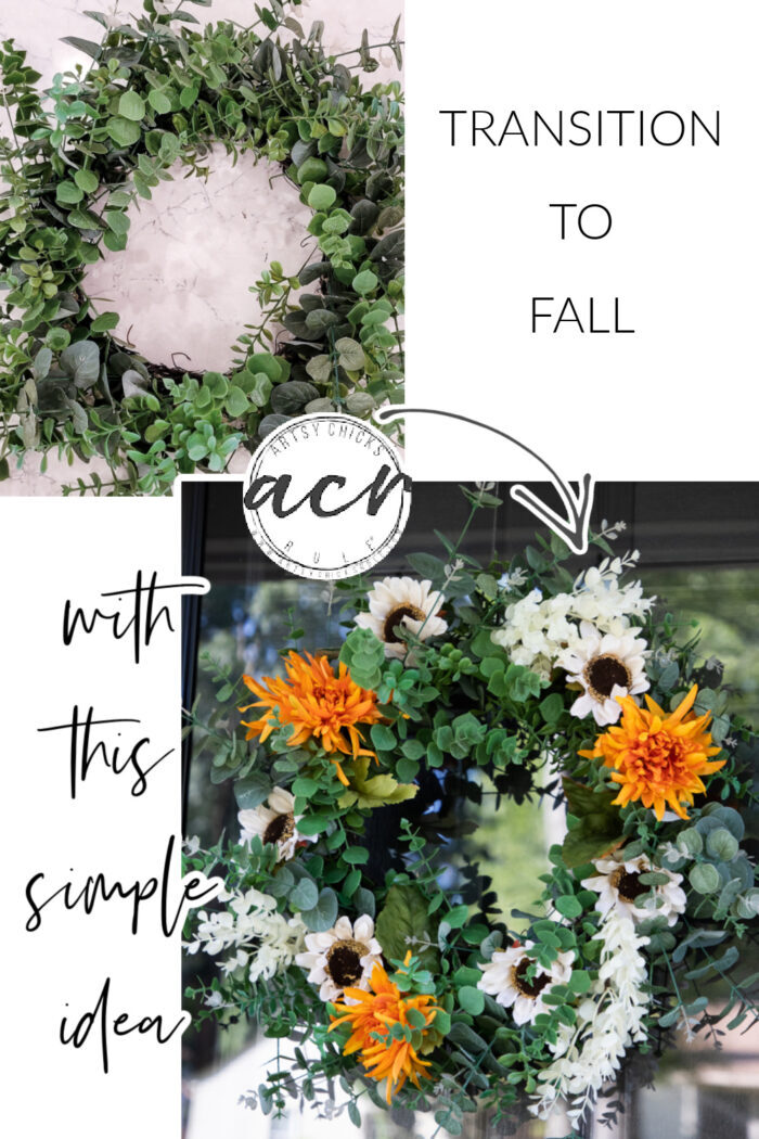 Easy fall wreath idea...the perfect way to transition from summer to fall...simply and inexpensively! artsychicksrule.com #easyfallwreath #transitiontofall
