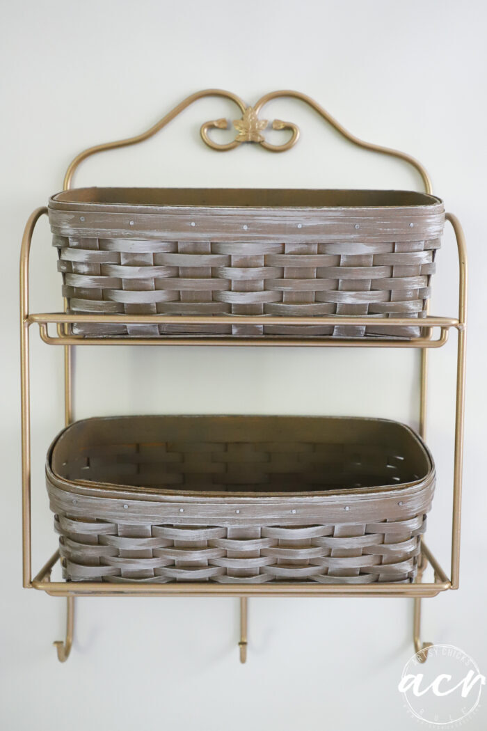 Longaberger baskets after stain, whitewash and black iron painted gold