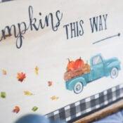 Napkin Decoupage Pumpkin Sign (and free printable!)