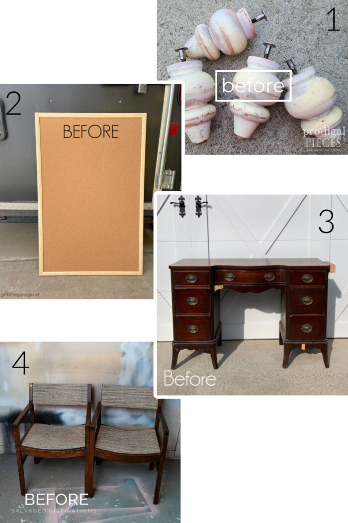 4 different before photos, legs, corkboard, dressing table and set of chairs