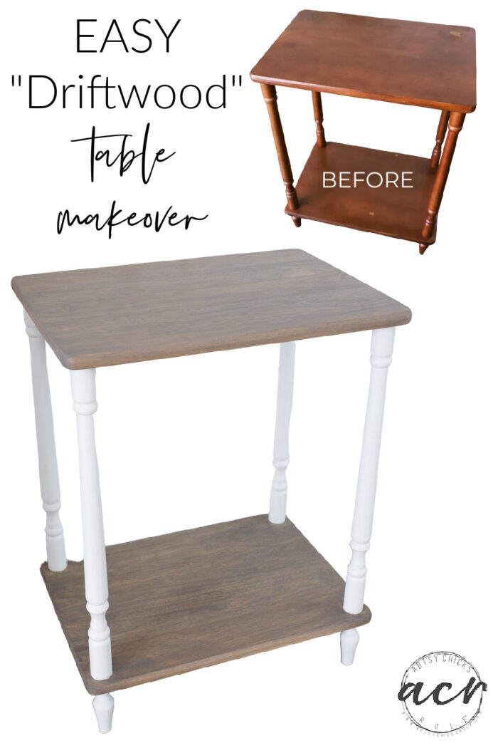 """This old """"throwaway"""" table got left behind...but I brought it back to life with a whole new look. Driftwood stain for the win! artsychicksrule.com #driftwoodstain"""