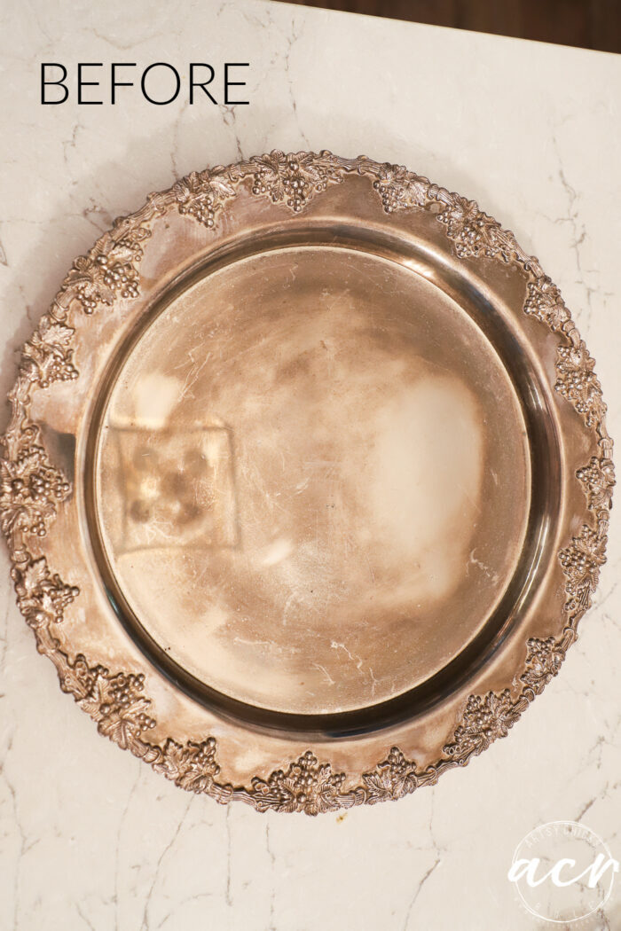 old tarnished metal tray on counter