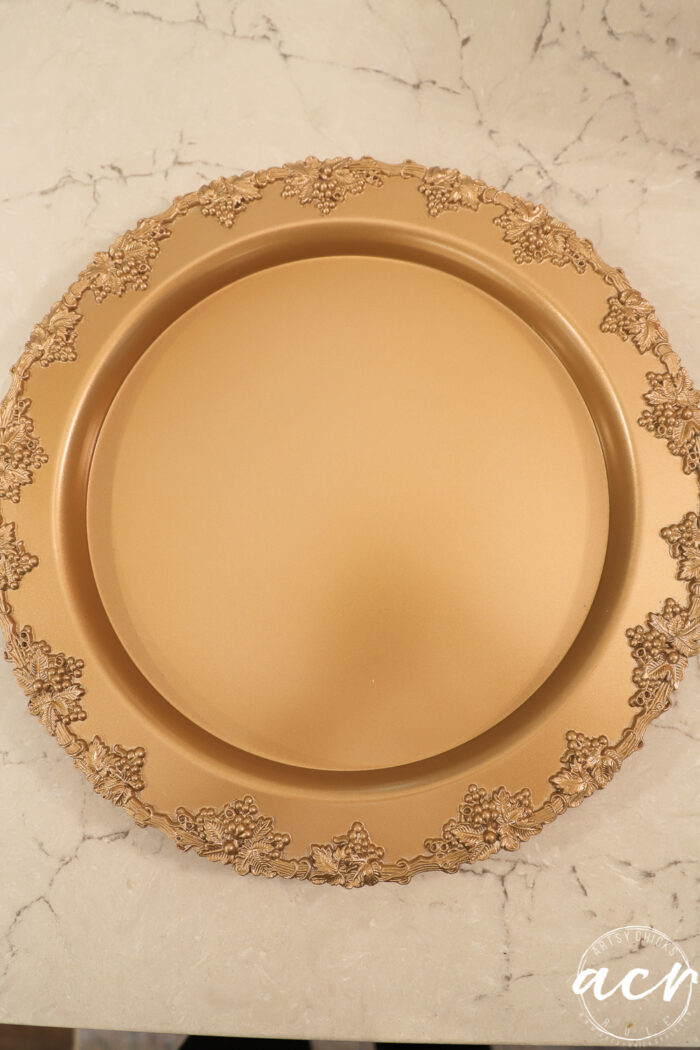 silver tray painted gold