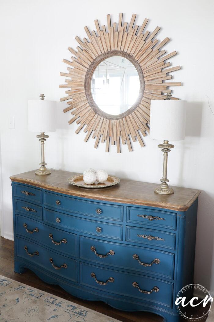 aubusson blue dresser with starburst mirror